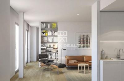 Apartamento de diseño moderno en una nueva casa en Barcelona